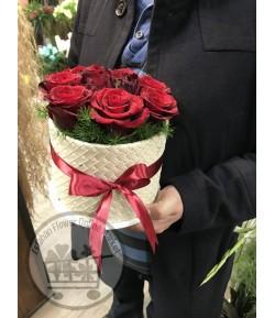 باکس گل رز قرمز زیبا