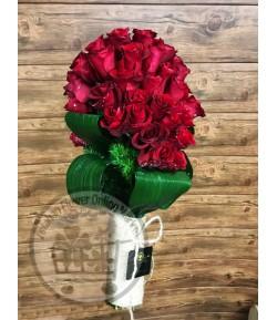 دسته گل رز هلندی قرمز -204