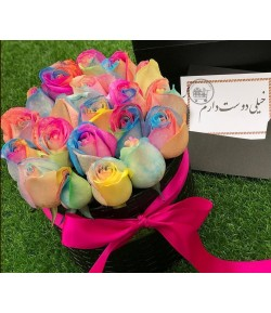 باکس گل رز هفت رنگ رویایی -126