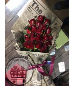 دسته گل رز قرمز آتشین -218