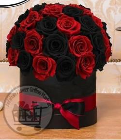 باکس گل رز قرمز و مشکی-144